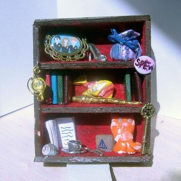 Miniature Dollhouse Hermione's Bookshelf by trophies on Etsy