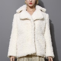 Cream Faux Fur Shearling Coat