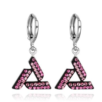 Magical Unique Celtic Triquetra Knot Amulets Silver-Tone Dark Sweet Pink Crystals Fashion Earrings
