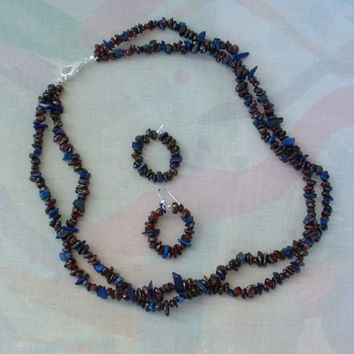Lapis Lazuli Red Garnet 2 Strand Necklace Earring Set Jewelry