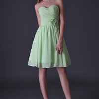Light Green Pleated Flower Homecoming Dress