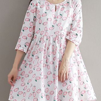 Casual Round Neck Fruit Printed Shift Dress