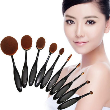 10PC/Set Pro Toothbrush Shaped Eyebrow Foundation Power Face Eyeliner Lip Oval Cream Puff Brushes Makeup Beauty Tools GUB#