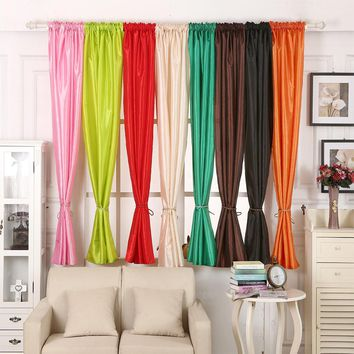 Window Curtain Polyester Pure Color Living room Bedroom Sheer Curtains Silk Door Drape Panel 1 PC 140*160cm Color
