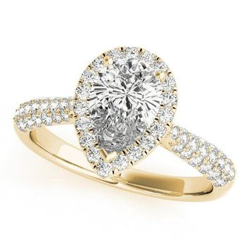 Vicky Pear Moissanite Micro Pave Shank Halo Engagement Ring