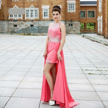 Backless Crystal Beaded High Low Dresses Short Front Long Back Gown