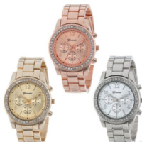 Women Fashion Metal Band Quartz Classic Round Crystals Watch Wristwatches = 1956626308