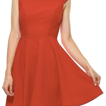 Teeze Me | Cap Sleeve Mock Neck Cutout Back Textured Fit and Flare Dress | Red