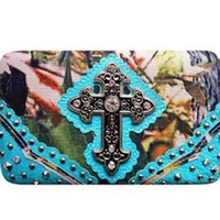 Rhinestone Cross Canvas Camo Flat Wallet Clutch Purse (blue)