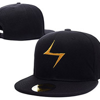 HAIHONG Kamala Khan Ms Marvel Yellow bolt Logo Adjustable Snapback Embroidery Hats Caps - Black