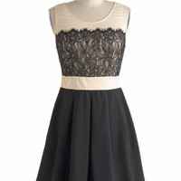 ModCloth Vintage Inspired Mid-length Sleeveless Right Time And Lace Dress
