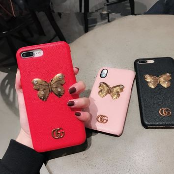 """Gucci"" Women Personality Metal GG Diamond Butterfly iPhoneX/8/6S Phone Leather Shell Apple iPhone7 Plus Phone Case"