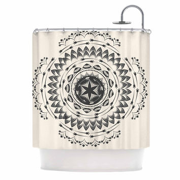 "Famenxt ""Boho Tribe Mandala"" Beige Black Shower Curtain"