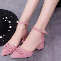 Candy Color Ankle Wrap Pointed Toe Chunky Low Heels Shoes