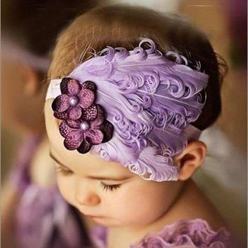 CREYM83 Drop shipping New Flower Cotton  Hairbands Girls Headband Cute Hairband  Light Purple Feather Hair Accessories #LSIN