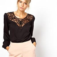 ASOS | ASOS Blouse With Macrame Insert Yoke And Balloon Sleeve at ASOS
