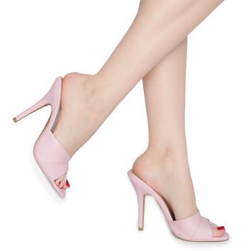 Pinup Girl Exclusive Wanda Mule Heel in Baby Pink