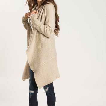 Quinn Taupe Ribbed Cardigan