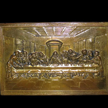 Vintage The Last Supper, Tin Type, Made In England, Wall Decor, Vintage Religious, Last Supper Plaque, Tin Plaque, Home Decor, Collectible