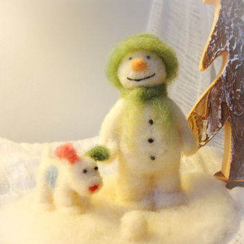 The Snowman and his Snowdog - Wool Needle Felt Miniature by Madame Craig