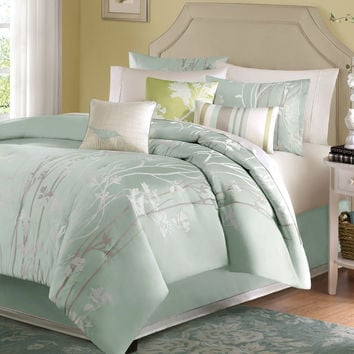 King Size 7 Piece Comforter Set Floral Jacquard Light Blue Green Sea Mist