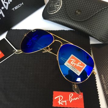 Ray-Ban RB 3025 Aviator Matte Gold Blue Polarized Sunglasses