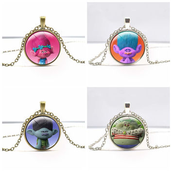 Movie Series Trolls Metal Pendant Eight Type Trolls Necklace Pendant Silver And Bronze Chaveiro Llavero Figure Model Toy