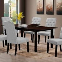 7 pc Venice collection espresso finish wood dining table set