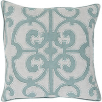 Denim and Gray Decorative Pillow