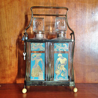 Vintage Liquor Decanter Set / Crystal Tantalus Carafe Bourbon & Rye Bar Set With Lock Box and Key