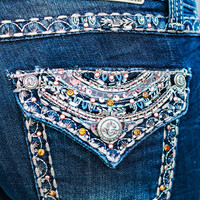 GRACE IN L.A. GLITZY SCROLL BOOTCUT JEANS