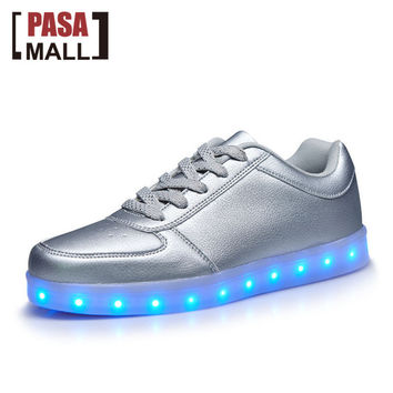 New 2016 Big Size 35-44 Men Women USB LED Light Shoes Glowing Fashion Led Shoes Flats Adults Lumineuse Shoes LS114