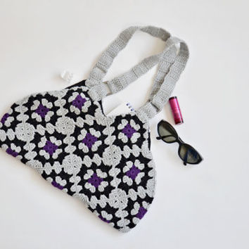 Crochet Tote Bag, Boho Bag, Gray Crochet Bag,  Granny Squares Bag, Christmas Gift, Purple and Black Colors, Women Accessory, Designscope