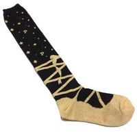 Star Logo Toe Shoes in Black x Gold from Angelic Pretty