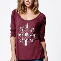 Volcom Quartz All Day Raglan T-Shirt - Womens Tee - Red
