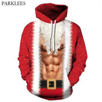 Ugly Christmas Hoodie Men Women Sweatshirt Funny 3D Fake Two Pieces Muscle Printed Mens Hoodies Hip Hop Xmas Sweat Homme