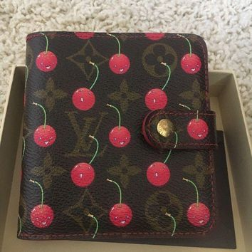 AUTH LOUIS VUITTON CHERRY CERISE COMPACT ZIP COIN WALLET RED MURAKAMI