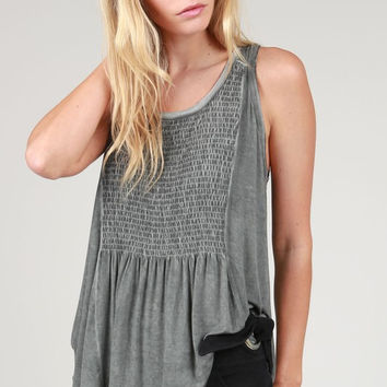 Lace-Up Back Babydoll Top - Charcoal
