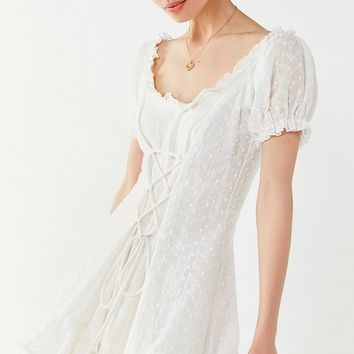 Lioness The Goldie Lace-Up Eyelet Dress | Urban Outfitters