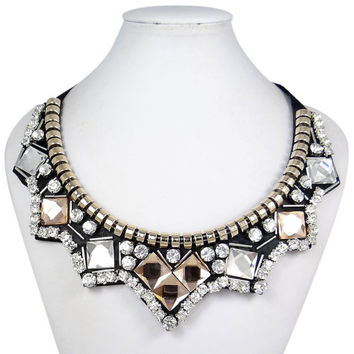 Art Deco Style Rhinestone Collar Necklace, Swarovski Crystal Bead Necklace, Statement Bib Necklace, Prom Jewelry-166475857