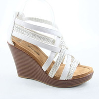Open Toe Weaved White Sandal Wood Wedge