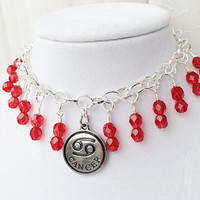 Zodiac Charm Bracelet, July Cancer Gift, Ruby Red Birthstone Jewelry
