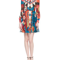 Long-Sleeve Flower Power Graphic Dress, Size: