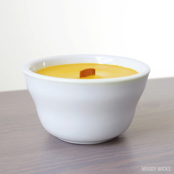 Free Shipping - Yellow Soy Palm Candle - Scented with Lime or Unscented - Wood Wick - Easter Decor