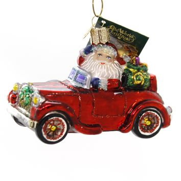 Old World Christmas SANTA IN ANTIQUE CAR Glass Ornament Travel Delivery 40302