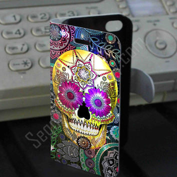 Mandala Sugar Skull Rainbow Leather Folio Case for iPhone and Samsung Galaxy