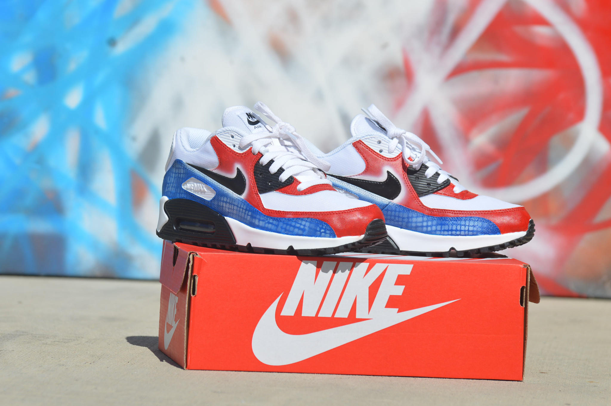 Custom Hand Painted Nike Air Max 90 Running Shoes - America Theme 15d768ac07