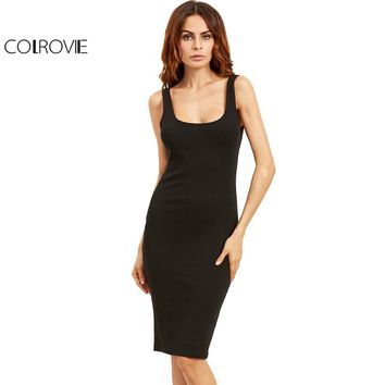 Black Basic Ribbed Summer Dress Plus Size Double Scoop Women Brief Tank Dresses Sleeveless Sexy Sheath Midi Dress
