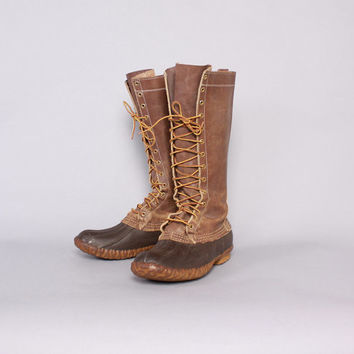 """Vintage LL BEAN Hunting BOOTS / 80s 16"""" Tall Men's Maine Hunting Shoe Lace-Up Duck Boots 11"""