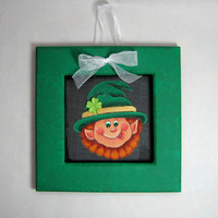 St. Patricks Day, Leprechaun Face, Framed in Greens, Tole Painted
